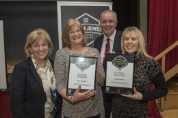 L-R Ann Cadman, Director of The Source, Gail Passey of Castle Cards, George Elliott, Account Manager at The Source, Dawn Clark, owner of overall winner Castle Cards